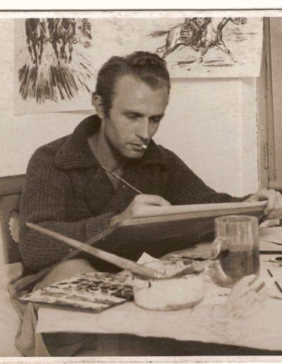 Bimba kreslí pro časopis Mladý hlasatel v ateliéru v Alešově (dnešní Muchova)